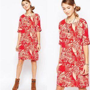 ASOS by Ichi Garden Print Short Sleeve Shift Dress